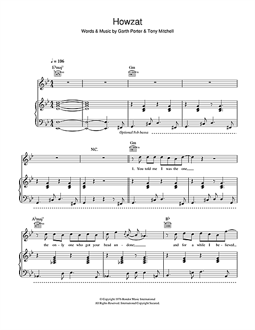 Howzat Sheet Music