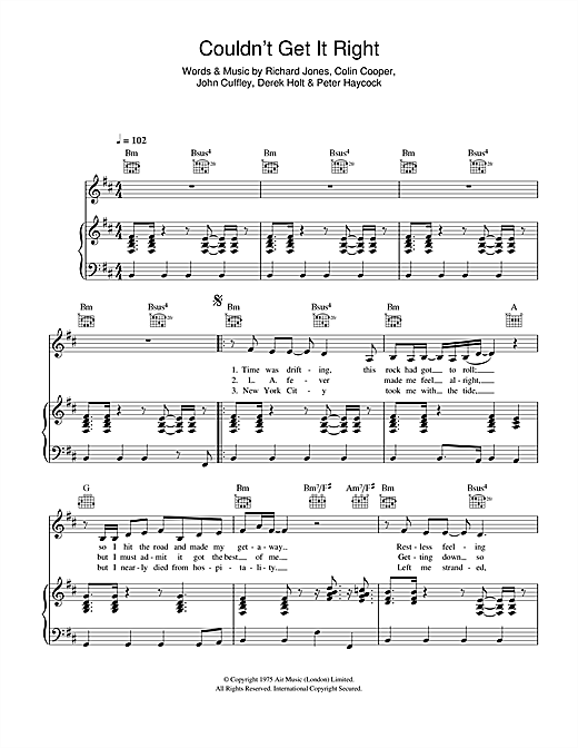 Couldn't Get It Right Sheet Music