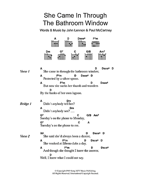 She Came In Through The Bathroom Window Sheet Music