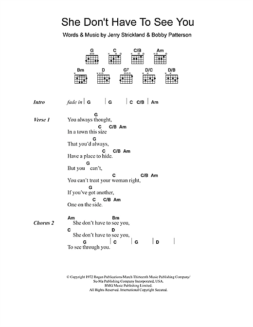 She Don't Have To See You (Guitar Chords/Lyrics)