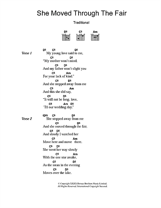 She Moved Through The Fair (Guitar Chords/Lyrics)