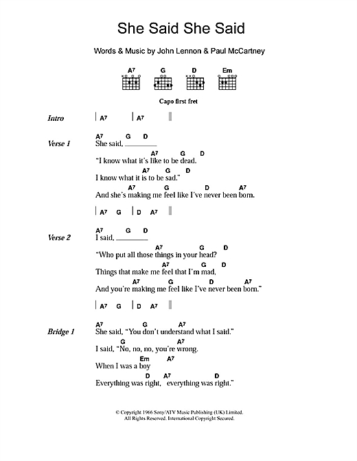 She Said She Said (Guitar Chords/Lyrics)