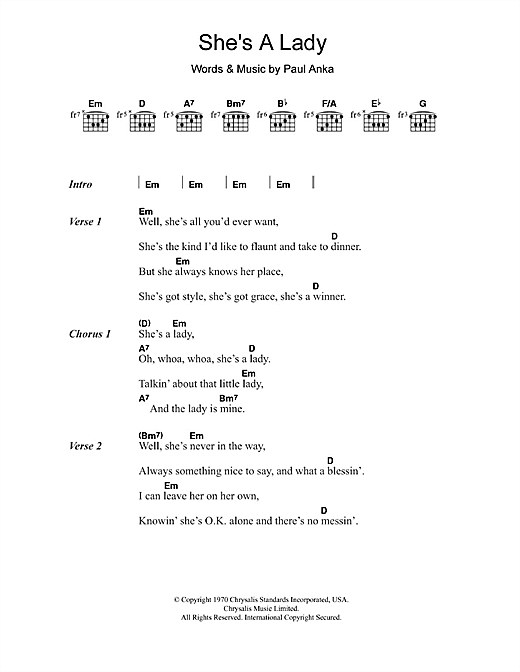 She's A Lady (Guitar Chords/Lyrics)