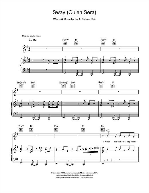 Sway (Quien Sera) Sheet Music