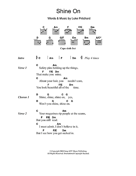 Shine On (Guitar Chords/Lyrics)