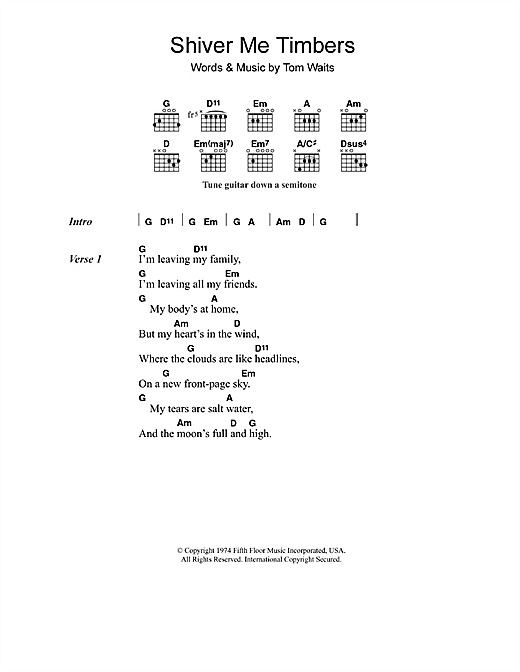 Shiver Me Timbers Sheet Music