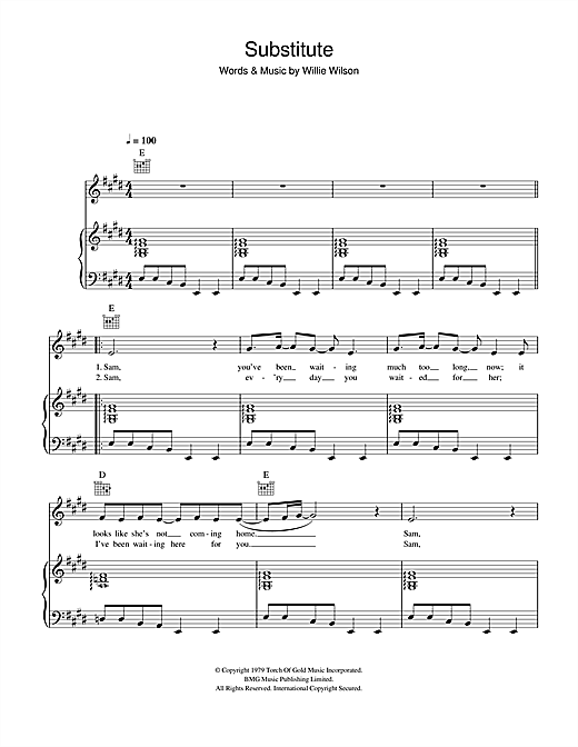 Substitute Sheet Music