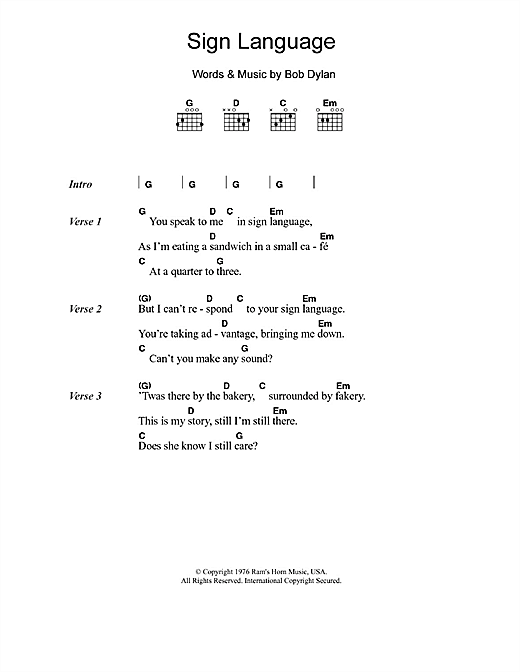 Sign Language Sheet Music