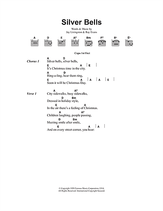 Silver Bells (Guitar Chords/Lyrics)