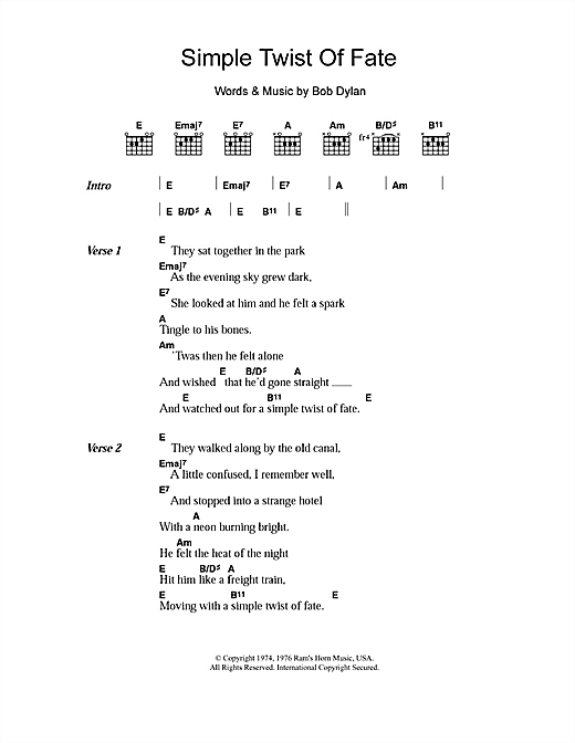 Simple Twist Of Fate (Guitar Chords/Lyrics)