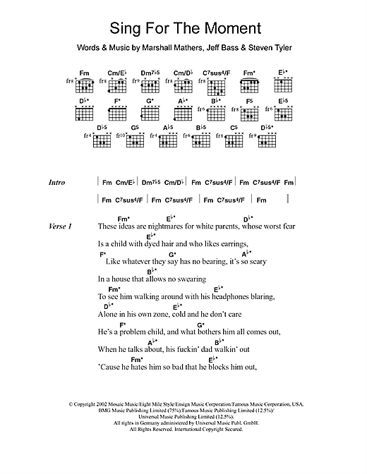 Sing For The Moment (Guitar Chords/Lyrics)