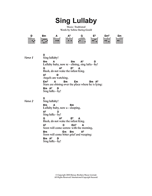 Sing Lullaby Sheet Music