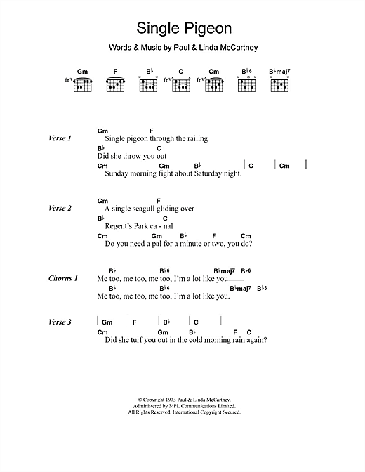 Single Pigeon Sheet Music