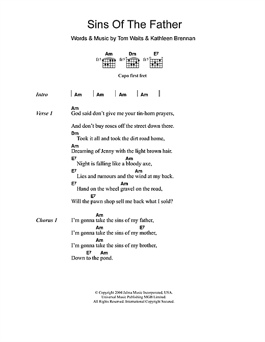 Sins Of The Father Sheet Music
