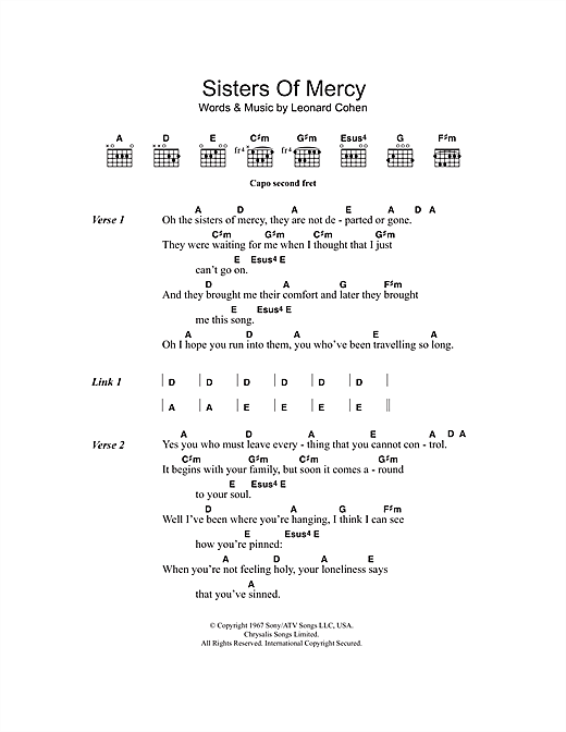 Sisters Of Mercy sheet music by Leonard Cohen (Lyrics & Chords – 107744)