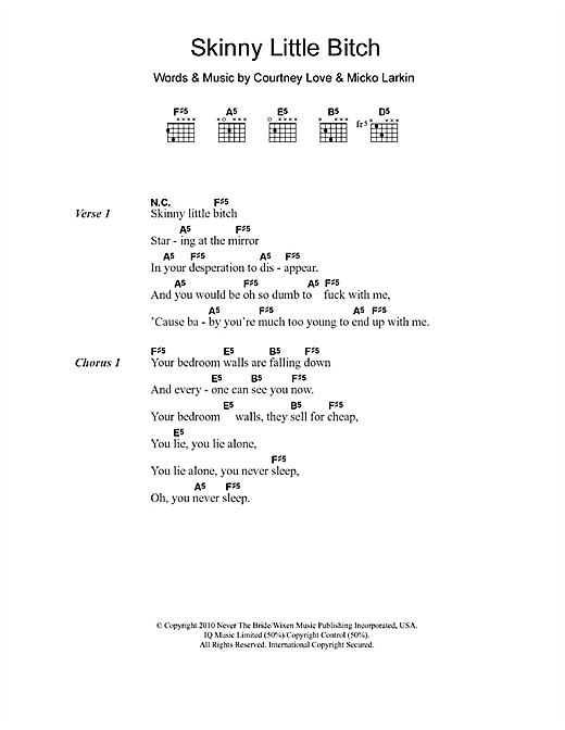 Skinny Little Bitch (Guitar Chords/Lyrics)