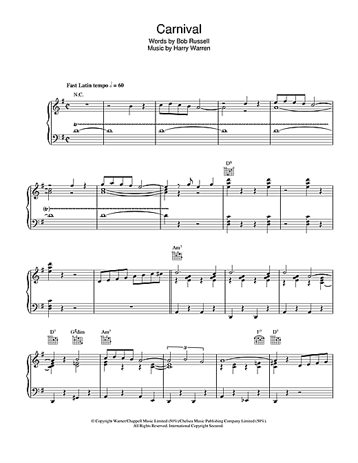 Carnival (Piano, Vocal & Guitar (Right-Hand Melody))