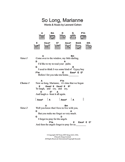 So Long, Marianne Sheet Music