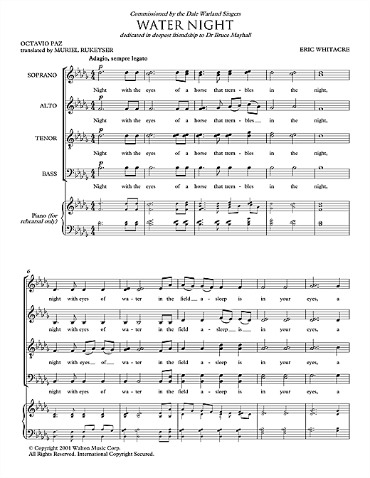 Water Night Sheet Music