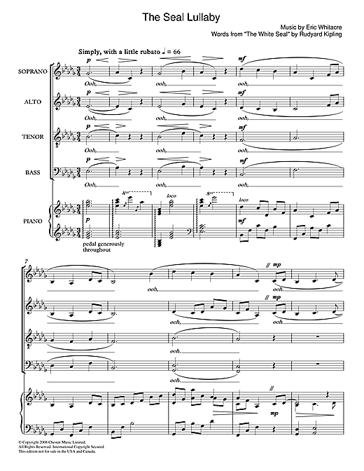Partition chorale The Seal Lullaby de Eric Whitacre - SATB