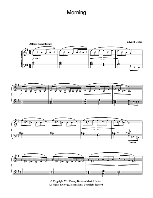 Morning (from Peer Gynt Suite No.1) (Beginner Piano)