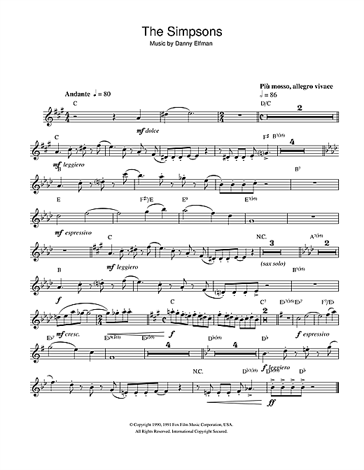 Partition saxophone Theme From The Simpsons de Danny Elfman - Sax Alto