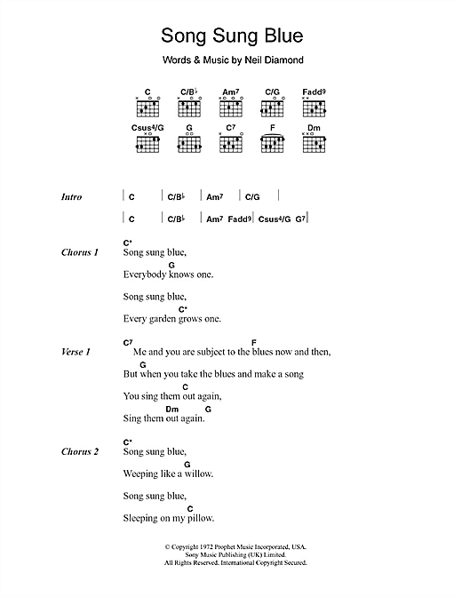 Song Sung Blue (Guitar Chords/Lyrics)