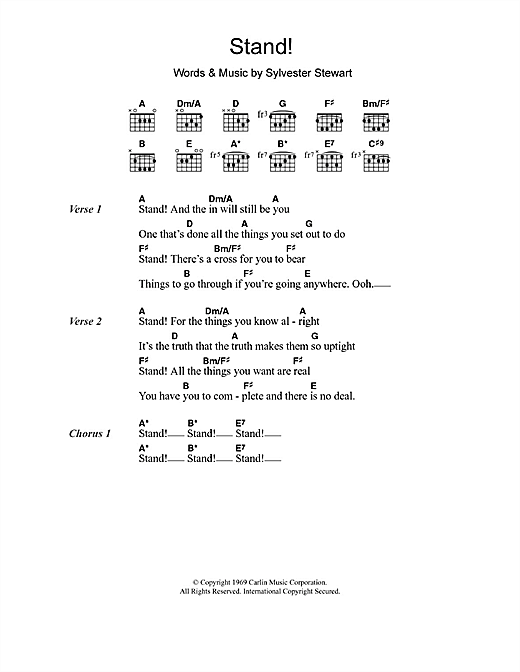 Stand! sheet music by Sly & The Family Stone (Lyrics & Chords – 107835)