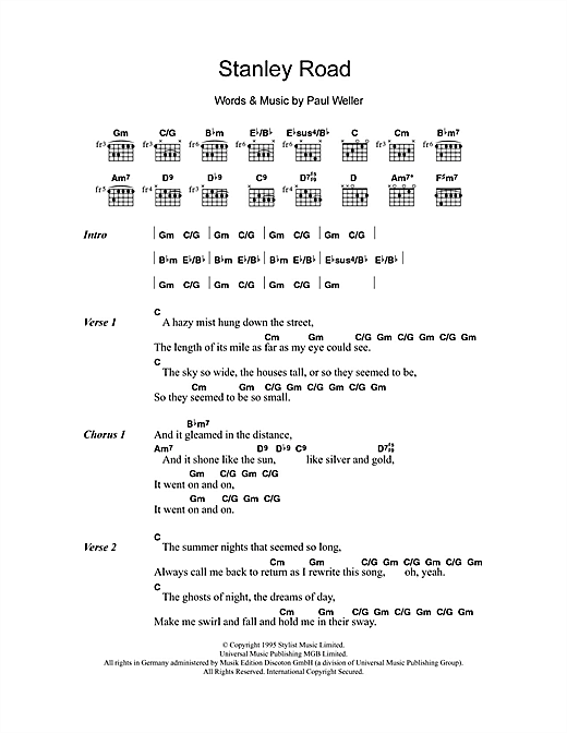 Stanley Road (Guitar Chords/Lyrics)