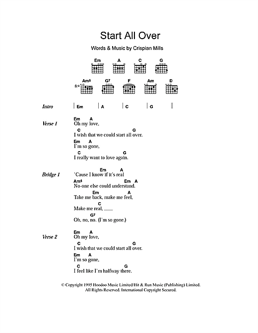 Start All Over (Guitar Chords/Lyrics)