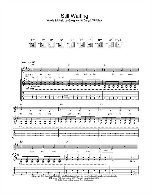 Tablature guitare Still Waiting de Sum 41 - Tablature Guitare