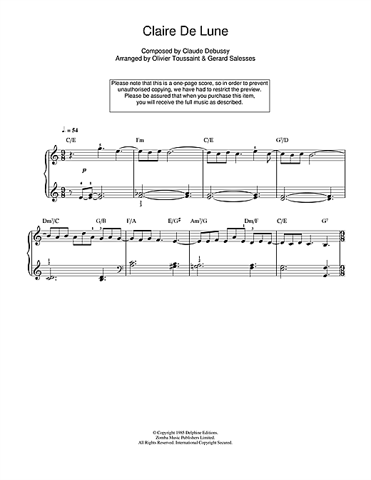 Clair De Lune Piano Sheet Music By Claude Debussy Easy Piano