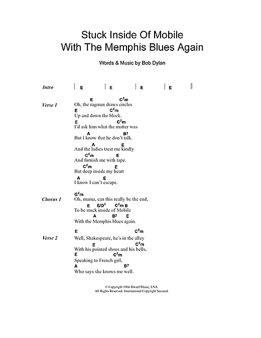 Stuck Inside Of Mobile With The Memphis Blues Again (Guitar Chords/Lyrics)