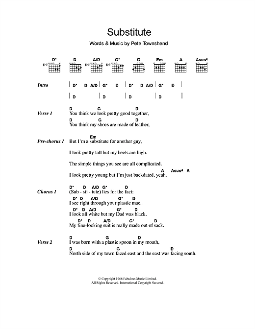 Substitute Sheet Music By The Who Lyrics Chords 107897