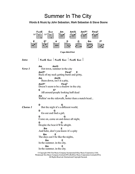 Summer In The City (Guitar Chords/Lyrics)