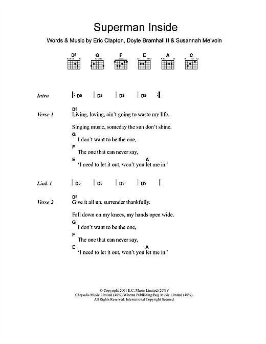 Superman Inside sheet music by Eric Clapton (Lyrics & Chords – 107911)