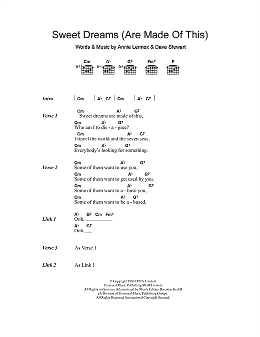 Sweet Dreams (Are Made Of This) sheet music by Eurythmics (Lyrics ...