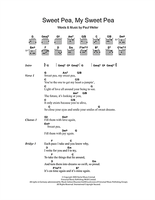 Sweet Pea, My Sweet Pea Sheet Music