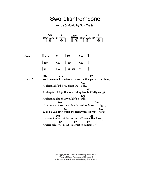 Swordfishtrombone Sheet Music