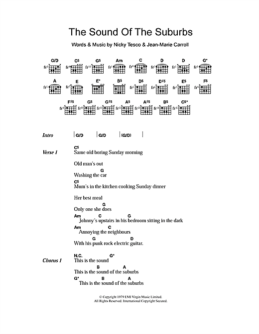 The Sound Of The Suburbs Sheet Music