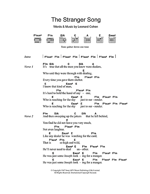 The Stranger Song Sheet Music
