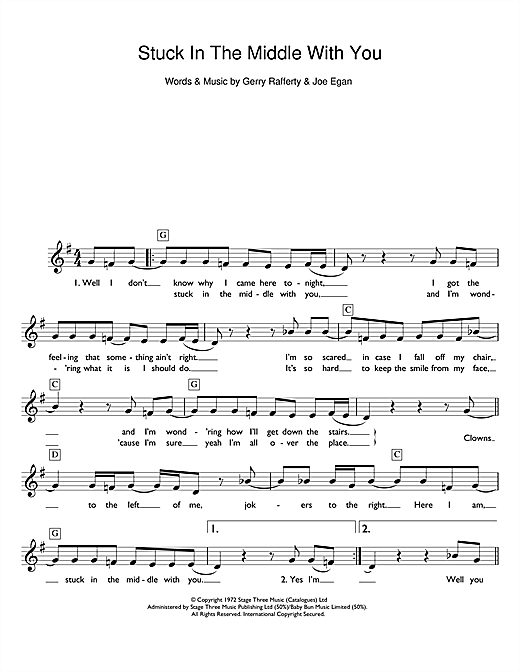 Partition piano Stuck In The Middle With You de Stealers Wheel - Synthétiseur