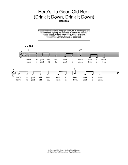 Here's To Good Old Beer (Drink It Down, Drink It Down) (Lead Sheet / Fake Book)
