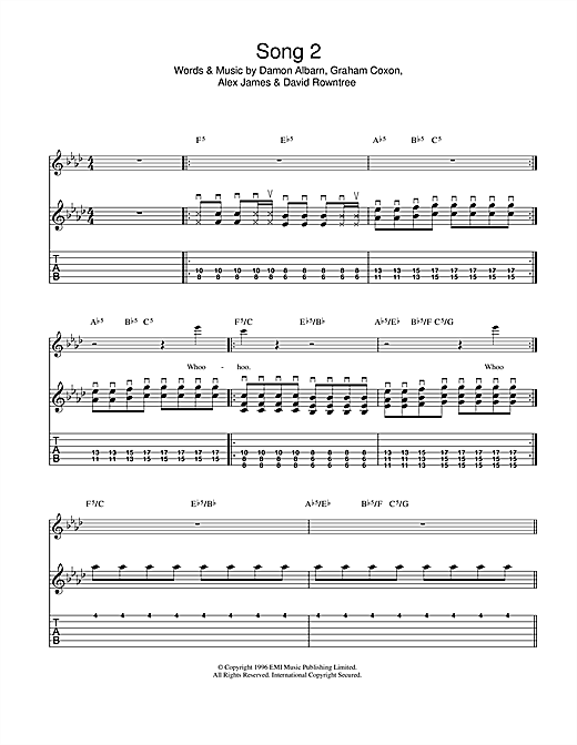 Song 2 Sheet Music