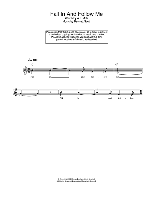 Fall In And Follow Me Sheet Music