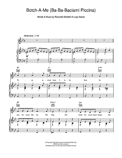 Botch-A-Me (Ba-Ba-Baciami Piccina) Sheet Music