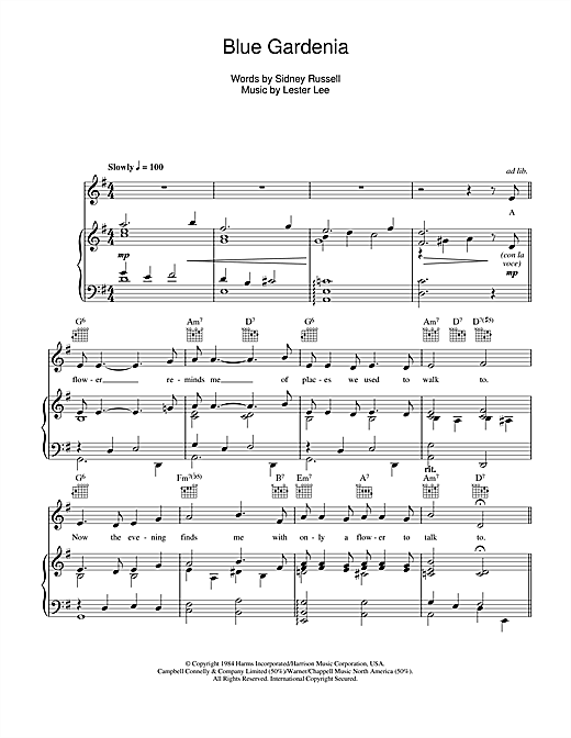 Blue Gardenia Sheet Music