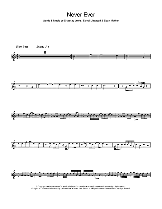 Never Ever Sheet Music