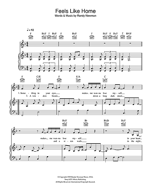 feels like home sheet music by randy newman piano vocal guitar 107986. Black Bedroom Furniture Sets. Home Design Ideas