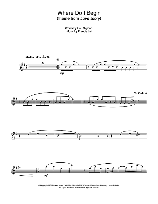 Where Do I Begin (theme from Love Story) Sheet Music